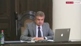 Newly appointed Armenian Prime Minister Karen Karapetyan's first cabinet meeting