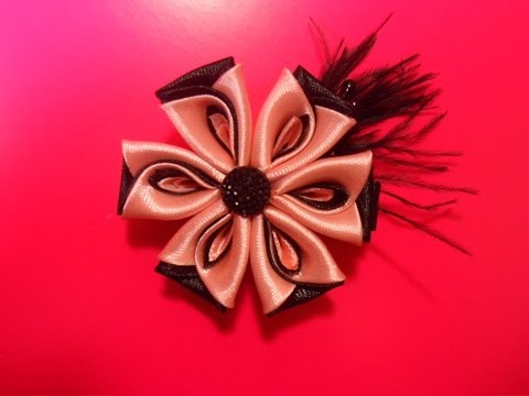 Цветок канзаши из атласных лент видео уроки