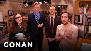 "Video Jim Parsons & Conan Raid The ""Big Bang Theory"" Set With A Fan MP3, 3GP, MP4, WEBM, AVI, FLV Februari 2019"