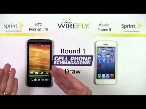 Sprint HTC EVO 4G LTE vs Apple iPhone 5 Smartphone Schmackdown by Wirefly