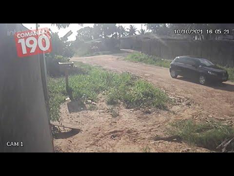 Câmeras de segurança filmam carro suspeito de tentar raptar crianças, em Ji-Paraná
