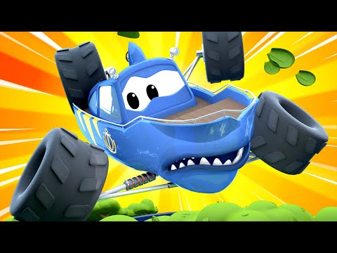 Monster Town - Marty drives over a cliff edge! | Monster Trucks Cartoon for Children