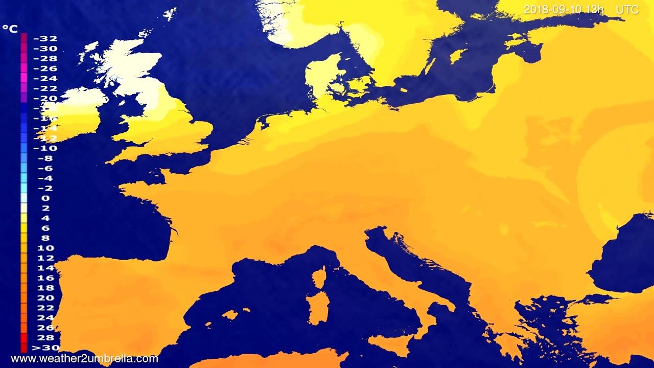Temperature forecast Europe 2018-09-07