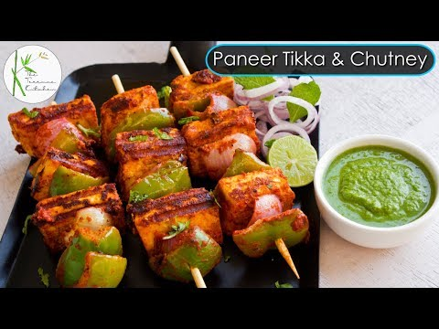 Paneer Tikka & Green Chutney Recipe | Paneer Tikka Recipe without Oven ~ The Terrace Kitchen