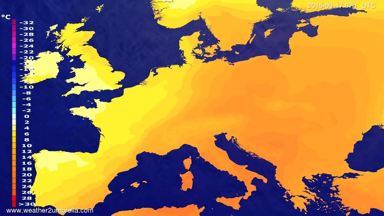 Temperature forecast Europe 2015-09-14