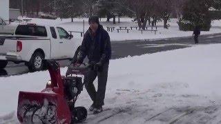 2. Video #1 2016 Honda HSS1332ATD snowblower in April 4th snow storm