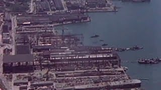 Kure Japan  city pictures gallery : Aerial views of beached and sunken Japanese ships in Kure - May 1946
