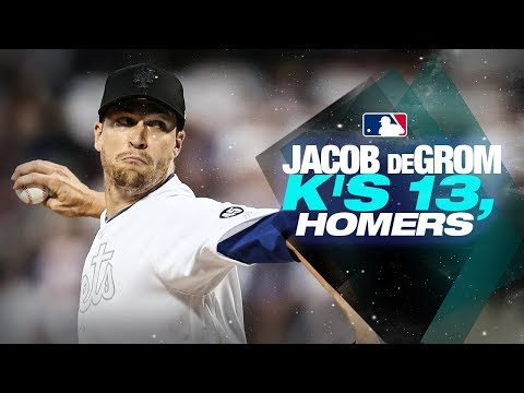 Video: Mets' Jacob deGrom K's 13, homers against Braves