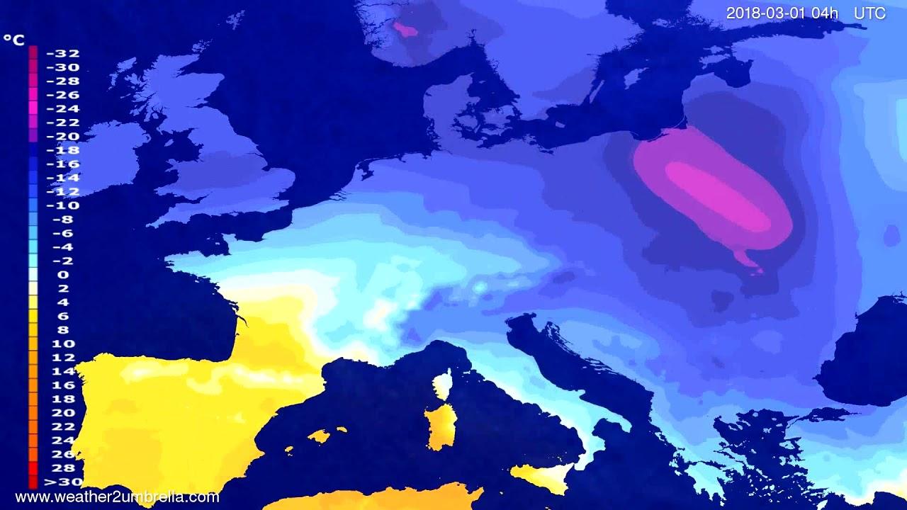 Temperature forecast Europe 2018-02-25