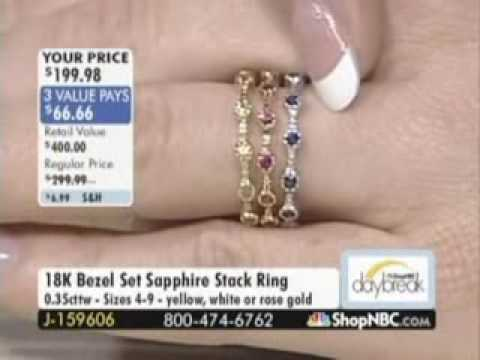 R7229 18K RG Ruby, WG Blue Sapphire or YG Yellow Sapphire Stack Ring