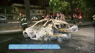 O comissário de bordo Alexandre Stoian, de 43 anos, estava no carro acompanhado da mulher quando, na Avenida Bandeirantes, em São Paulo, foram atingidos por um carro que vinha em alta velocidade. O veículo de Alexandre bateu, rodou na pista e começou a pegar fogo. A mulher conseguiu escapar, mas o comissário morreu carbonizado. O motorista que provocou o acidente tentou fugir, mas foi localizado. O advogado Artur Falcão Sfoggia, de 33 anos, está preso e vai responder por homicídio com dolo eventual. O primo dele, que o acompanhava, vai responder ao processo em liberdade. Os dois haviam saído de uma festa momentos antes do acidente acontecer.