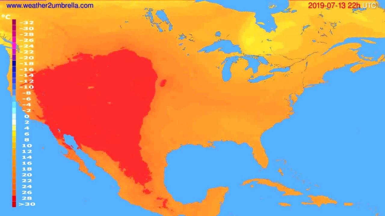 Temperature forecast USA & Canada // modelrun: 00h UTC 2019-07-11