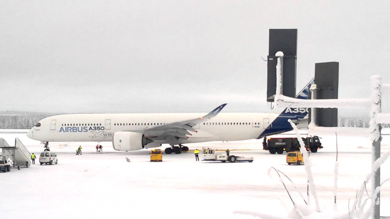 Testilennolla ollut Airbus A350<br /> hyytyi Rovaniemen kent&auml;lle
