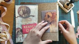 "Here is how I make the Traveler's Notebook Insert process video Part 1.Dog theme Traveler's Notebook InsertMeasures approx 8.25""×4.3"""