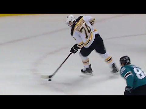 Video: Bruins' DeBrusk turns on the jets and burns the Sharks shorthanded