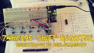 74HC595 Registrador de Deslocamento (Shift-Register).Confira o funcionamento do 74HC595 e o deslocamento de bits. No vídeo foi usado um SN74HC595, CI muito usado em conjunto com displays de 7-Segmentos e outras aplicações com microcontroladores, microprocessadores e placas microcontroladas como o arduino. Neste vídeo não foi usado nenhum microcontrolador e os leds de cor azul foram usados somente para indicar que um botão foi pressionado.