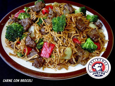Carne con brocoli y tallarines - Comida China