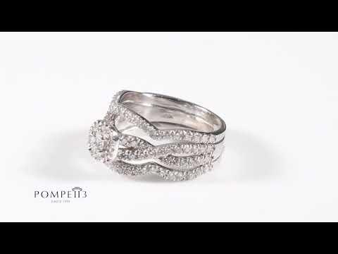 Cushion Halo Diamond 3-Ring Engagement Wedding Set White Gold