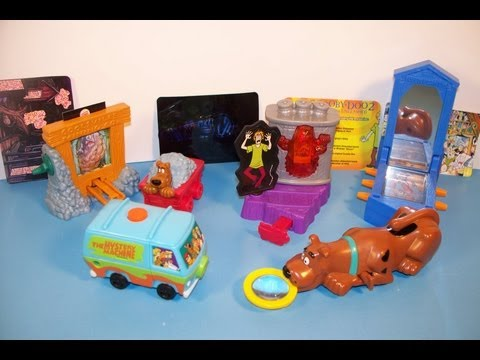 2003 SCOOBY-DOO 2 MONSTERS UNLEASHED SET OF 5 BURGER KING KID'S MEAL MOVIE TOY'S VIDEO REVIEW