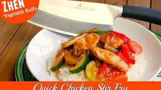 "Join Amy as she makes a Quick Chicken Stir Fry. We are using the Zhen Vegetable Knife that made quick work of chopping the vegetables: Onion, garlic, red bell pepper, zucchini, snow peas, and water chestnuts.  The knife is VG-10 Japanese stainless steel. This stir fry can be served over hot steamed rice or noodles. We also made a stir fry sauce that was tangy and delicious! This is a great weeknight dinner that is a large enough recipe for lots of leftovers. It is also great as a freezer meal or to take for lunch.Amy Learns to Cook is all about learning to make simple, tasty food from fresh ingredients.  One year ago, I made a commitment to stop eating processed convenience foods.  I decided to learn to cook ""real"" food. Join me!  Let's learn to cook together! Enjoy! Please share! Zhen Vegetable Knife VG-10 Japanese 3 layer forged high carbon stainless steel 7 inch:http://amzn.to/2nkA6bpPlease SUBSCRIBE to my channel, LIKE, and leave a COMMENT.Please visit my website: www.amylearnstocook.comAny links in this description, including Amazon, are affiliate links.I received this product free of charge in exchange for my honest review."