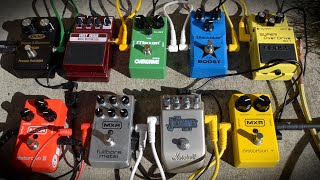 As requested I'm uploading this complementary video to https://youtu.be/6as_Zjf7hPc Comparison of 9 overdrive/distortion pedals soloed. Maxon OD808 vs Boss SD-1 vs MXR Distortion Plus M104 vs DOD YJM 308 vs MXR Fullbore Metal M116 vs Blackstar LT vs Marshall Jackhammer vs Digitech Hot Rod vs MXR Distortion III M115. All pedals in one song, rhythm and lead tones test in a metal mix.Signal chai: ESP Horizon FR-II - pedal - Blackstar HT-20