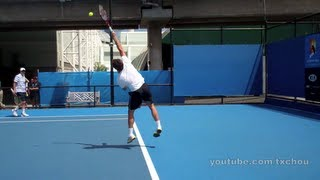 http://www.youtube.com/txchou Slow motion and real-time video footage of Roger Federer's serve on the practice courts.