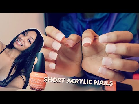 DOING MY OWN SHORT ACRYLIC NAILS