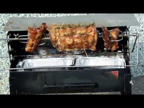 Girarrosto elettrico per barbecue, camino e forno a legna - arrosto fatto in casa