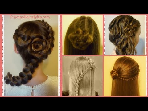 Braid hairstyles - 5 Braided Rose Hairstyles, Part 2 - Flower Girl Hairstyles