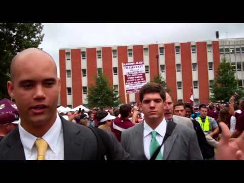 Tyler Russell experiences the Dawg Walk video.