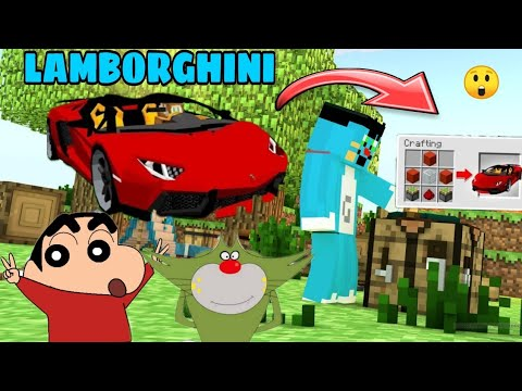 Minecraft | Oggy and Jack Shinchan found lamborghini in Minecraft | Oggy lamborghini mod  Minecraft