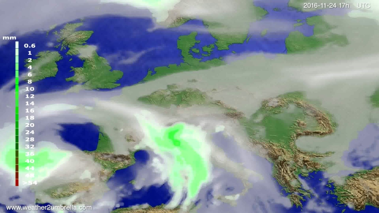 Precipitation forecast Europe 2016-11-22