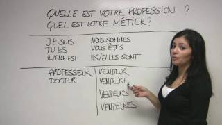 """In this video, Sonia explains how to state your profession and ask others about their careers. The French verb """"être"""" (to be) is reviewed. Presented by Diplomat Language School in Toronto, Canada."""