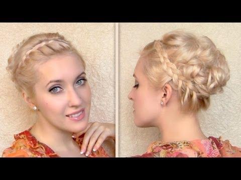 Greek goddess hair tutorial for short medium long hair Romantic braided updo Curly hairstyle