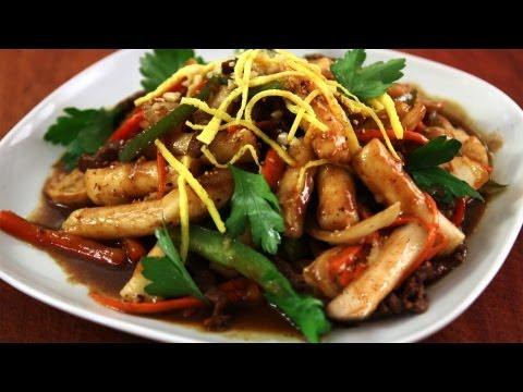 Korean Royal Court Stir Fried Beef and Rice Cakes – Gungjungddeokbokki – 궁중떡볶이