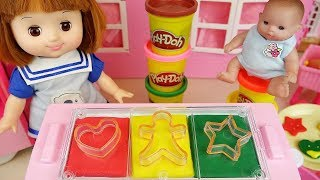 Play doh and baby doll cookie with cooking food car play