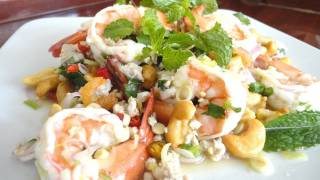 Thai Food Cooking Tutorial : Yum Ta Krai (Spicy Lemongrass Salad With Cashew Nuts)