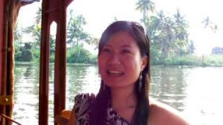 Chineese  tourist on Kerala Backwater