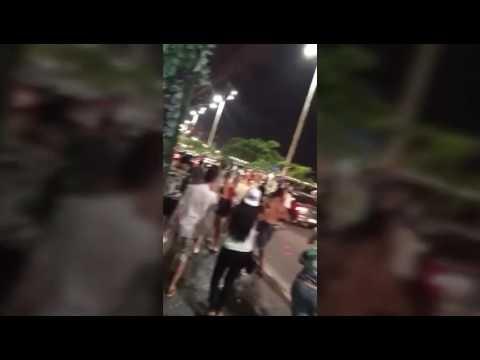 Saída do pré-Carnaval de Balneário Camboriú tem briga, atropelamento e carros depredados