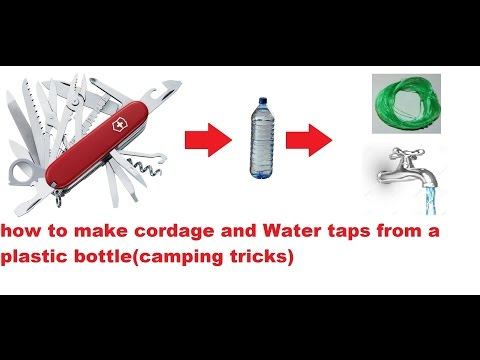 victorinox camping hacks (vid.82)-how to make cordage and water taps from a plastic bottle