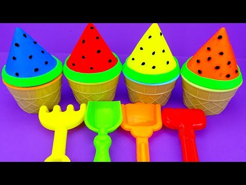 4 Colors Play Doh Ice Cream Cups Watermelon Chupa Chups Surprise Toys Disney Princess Kinder Joy