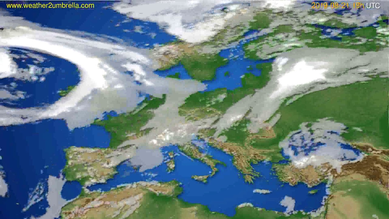 Cloud forecast Europe // modelrun: 12h UTC 2019-08-19