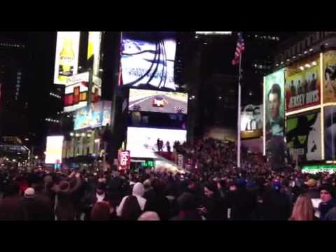 Fans Celebrate on Time's Square, NYC After Super Bowl XLVI, Feb. 5, 2012