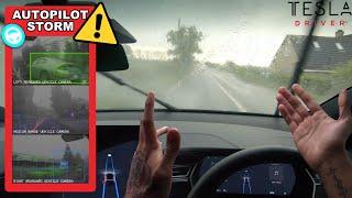 Tesla Autopilot Driving Through Flooded Roads In Heavy Storm Winds & Rain - Will It Still Work? by Pokemon Cards