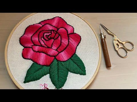 Bordar rosas con aguja mágica Punch needle embroidery flowers