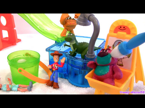 Toy Store - Disneycollector Toychannel presents Slide & Surprise Playground playset from Disney Pixar Toy Story. Create color changing designs at the art paint station with the foam paintbrush. Tilt the...