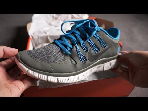 NIKE FREE 5.0+ V2 Running Shoes - Grey Blue White - unboxing & on feet