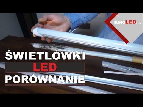 Porównanie świetlówki LED plastikowej, szklane, aluminiowe
