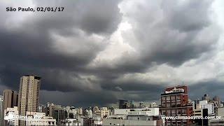 Veja a formação de uma forte chuva que causou alagamentos em SP na tarde desta segunda-feira