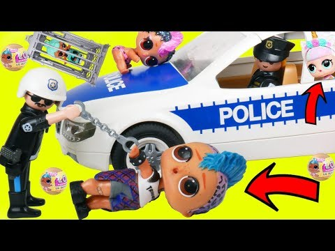 LOL Surprise Dolls Lil Sisters Stopped by Playmobil Police + Confetti Pop Punk Boi Unicorn Toy Video